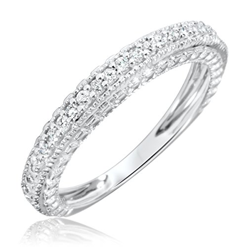 Anastasia Set Ring (My Trio Rings Anastasia Collection - Vintage 1/5 CT Round Diamond Ladies Band in 14K White gold with Shared Prongs setting- Size 7)