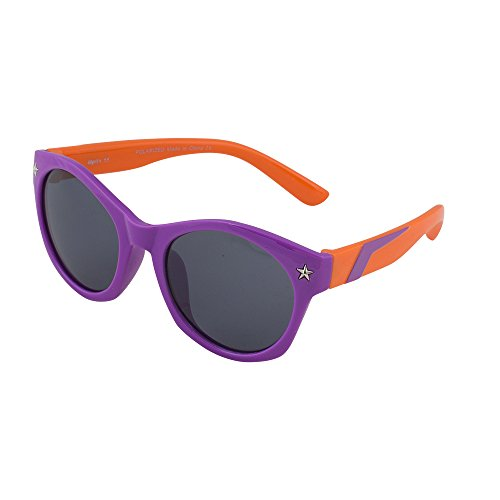 Kids Flexible Rubber Sunglasses for Boys and Girls - Purple and Orange Wayfarer Bendable and Unbreakable Frame - 100% UV Protection and Polarized Lenses - By Optix - Cheap Sunglasses Police