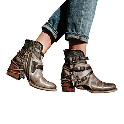 Autunno Stivaletti Retro Military Martin Square Leather Da Yying Sposa Heel Boots Nero Inverno Belt Donna mid Buckle 1wCxSCdqR