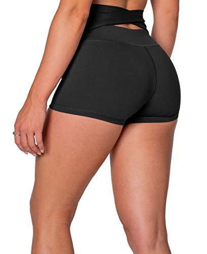 KamoFitness Kamo Fitness High Waist Athletic Yoga Shorts Tummy Control Workout Running (Black, L)