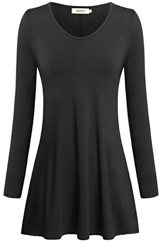 Women Tunic Shirts for Leggings,Bepei Long Sleeves Round Neck Tops Black 2XL