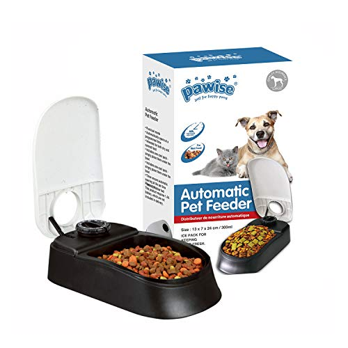 PAWISE Automatic Pet Feeder for Dogs and Cats, 1.5 Cups Food Dispenser Station with 48-Hour Timer - Single (Wet Dog Food Dispenser)
