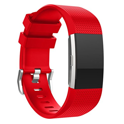 For Fitbit Charge 2 Bnads, FreshZone New Fashion Sports Silicone Bracelet Strap Band For Fitbit Charge 2, Small (Small 5.9-9.15, Red)