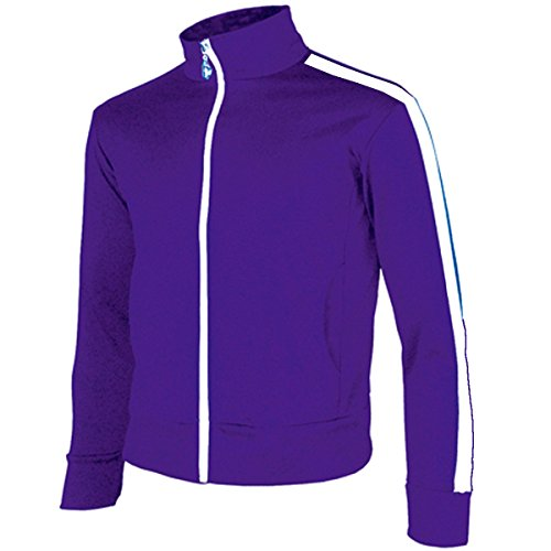 Block Track Jacket (myglory77mall Men's Running Jogging Track Suit Warm Up Jacket Gym Training Wear (XL US(3XL Asian Tag), Purple One line))