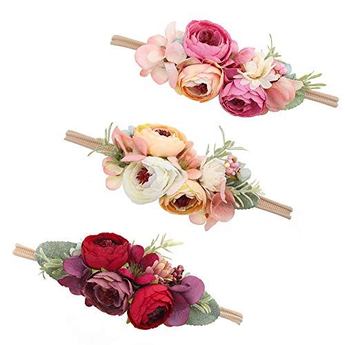 Baby Girl Floral Headbands Set - 3pcs Flower Crown Newborn Toddler Hair Accessories by mligril, Rose Cluster, Small