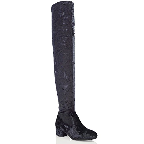ESSEX GLAM Womens Thigh High Chunky Low Heel Ladies Zip Stretch Casual Over The Knee Boots Black Velvet