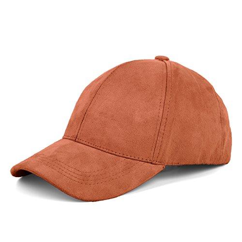 (JOOWEN 6 Panel Faux Suede Leather Classic Adjustable Plain Hat Baseball Cap (Blush))