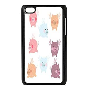 Tyquin Pig Ipod Touch 4 Cases Pig Art, {Black}
