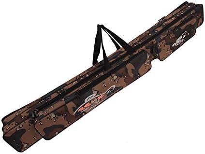 Sougayilang Portable Waterproof Double-Layer Camo Fishing Rod Bag Carrier Storage Case