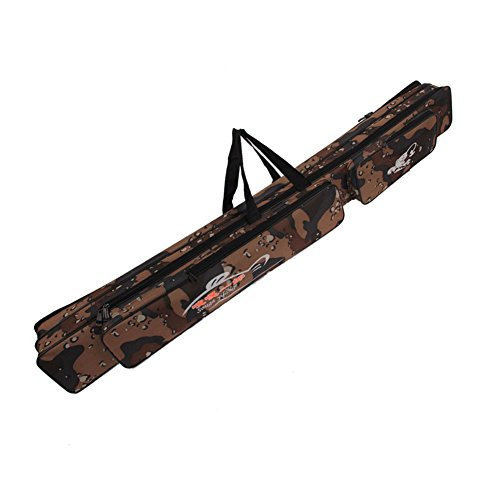 Sougayilang Portable Waterproof Double-layer Camo Fishing Rod Bag Carrier Storage Case