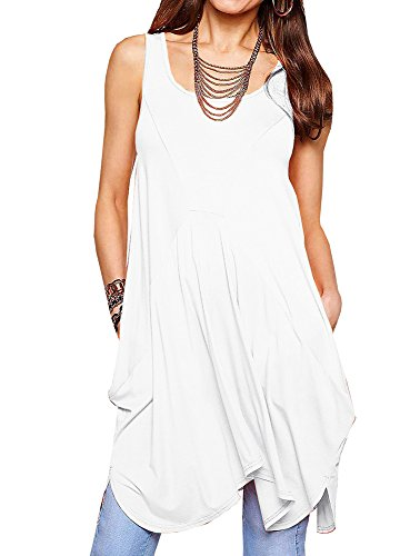 Fashare Womens Casual Sleeveless Swing Dress Irregular Hem Loose Tank Summer Dress Tops With Pockets