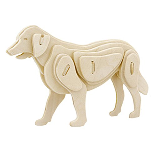 3D Puzzle Wooden Model,Children's Educational Toys ( Dog ) (3d Dog Model)