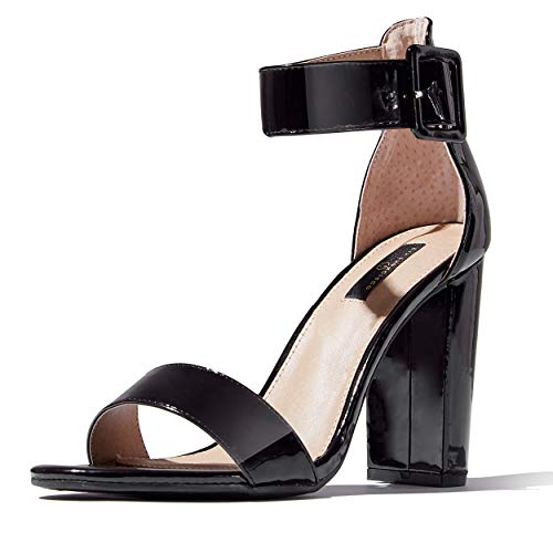 - DailyShoes Women's Chunky Heel Sandal Open Toe with Buckle Ankle Strap Casual Dress Sandals, Black Patent, 8 B(M) US