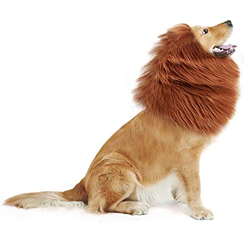 GABOSS LLL30 Lion Mane Costume, Lion Wig for Dog Large Pet Festival Party Fancy Hair Dog Clothes, Dark Brown ()