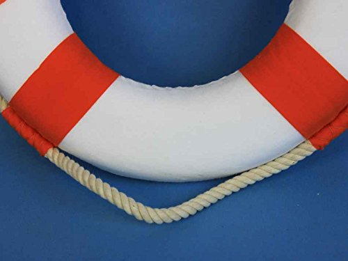 Classic White Decorative Anchor Lifering With Orange Bands 10''- Decorative Lifering- by Handcrafted Model Ships (Image #6)