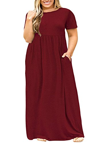 (POSESHE Women Short Sleeve Loose Plain Casual Plus Size Long Maxi Dress with Pockets Wine Red 3XL)