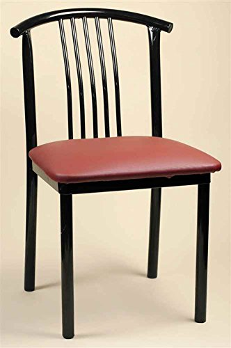 Yew Wood Furniture - Alston 43518-OG-10779-O-20739 Contemporary Side Chair w Black Metal Frames and Vinyl Upholstered Seats-Set of 2, Yew, Green