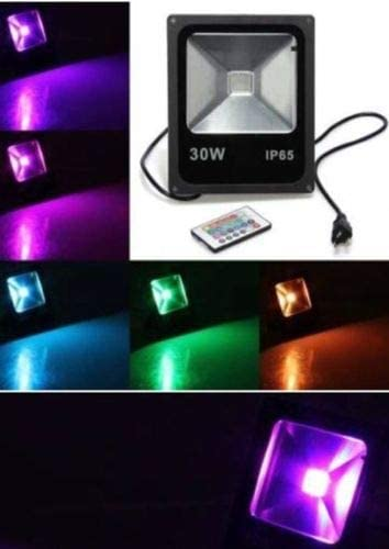 RedTag Lighting 20W Waterproof Outdoor Security LED Flood Light Spotlight High Powered RGB Color Change 16 Different Color Tones with Plug and Remote Control AC85V-265V, with 1 Meter Power Plug