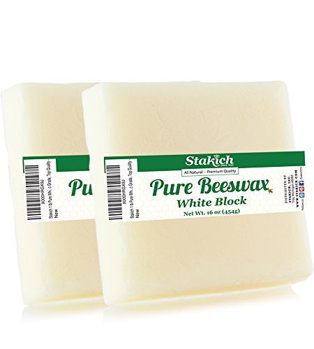 Stakich Pure White Beeswax Blocks - Natural, Cosmetic Grade - 2 Pound (in 1 Pound Blocks)