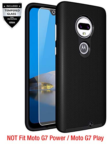 Moto G7 Case, Moto G7 Plus Case with [9H Tempered Glass Screen Protector], Sunnyw Shock Absorption Anti-Scratch Silicone Plastic Dual Layer Hybrid Armor Cover for Motorola Moto G7/G7 Plus (Black)