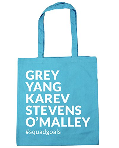 HippoWarehouse Grey Yang Karev Stevens O´Malley Squadgoals Bolso de Playa Bolsa Compra Con Asas para gimnasio 42cm x 38cm 10 litros capacidad Azul Celeste