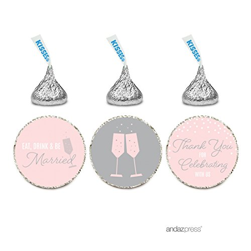 Andaz Press Pink Blush and Gray Pop Fizz Clink Wedding Collection, Chocolate Drop Label Stickers Trio, 216-Pack, Fits Hershey's Kisses Party Favors