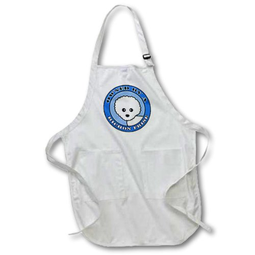 3dRose apr/_47644/_4 Owned by a Bichon Frise Blue Full Length Apron with Pockets Black 22 by 30-Inch