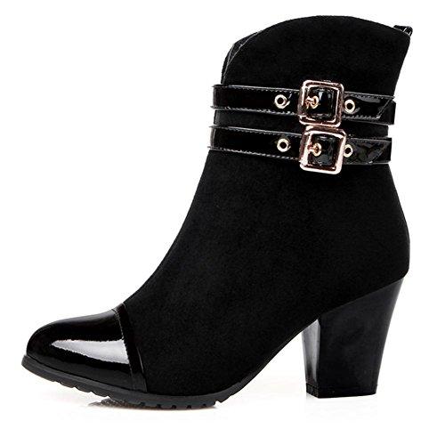cinturón desgaste H mujeres al HCuatro cuero resistente de botas negro 39 XIAOGANG caucho de hebilla Estaciones antideslizante qfXpwpS