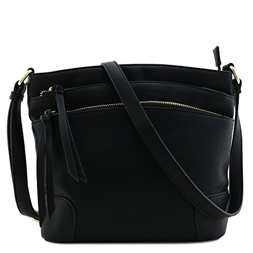 Triple Zipper Pocket Medium Crossbody Bag Black