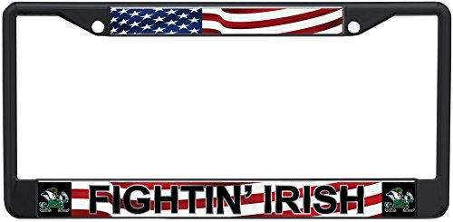 Stockdale NCAA Notre Dame Fighting Irish Laser-cut Acrylic USA Flag License Plate Frame ()
