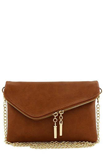 Envelope Wristlet Clutch Crossbody Bag with Chain Strap (Dark ()