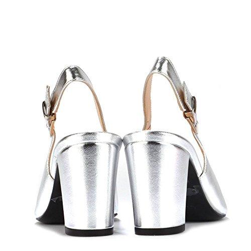 Elia B Shoes Slinky Silver Leather Slingback Pump Silver 0D9bBmsCb
