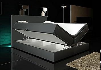 Boxspringbett 140x200 mit bettkasten  Boxspringbett Grau 140x200 2 Bettkasten Hotelbett Bett LED ...