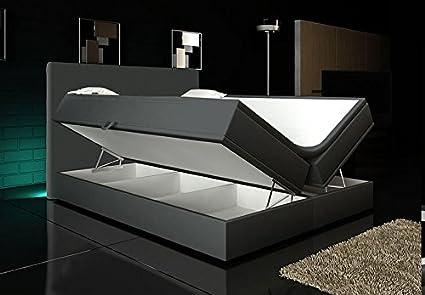 Wohnen-Luxus Boxspringbett Grau 180x200 inkl. 2 Bettkasten Hotelbett Bett LED Polsterbett Rio Lift