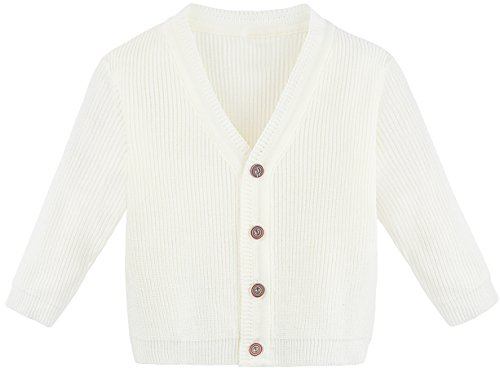 Lilax Little Boys Basic Long Sleeve V-Neck Classic Knit Cardigan Sweater 2T Cream