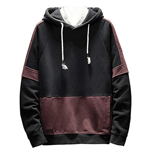 Men's Hoodies Pullover Clearance Sale,Casual Long Sleeve Sweatshirt Comfortable Hooded Coat Autumn Winter Warm Sweater Tops (Black, Asian (Wedding Womens Raglan Hoodie)