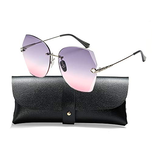 SOSUSHOE Sunglasses For Women Oversized Rimless Diamond Cutting Colorful Lens Fashion