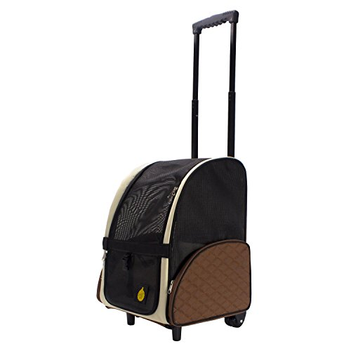 Frontpet Rolling Pet Travel Carrier / Pet Carrier With Wheels / With Backpack Straps (12W x 14.5L x 19.5H) / Air Travel Pet Carrier / Airport Pet Carrier / Travel - Dog Rolling Carriers
