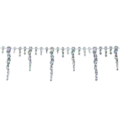 Northlight Clear Iridescent Icicle Beaded Christmas Garland 8' x (Iridescent Icicle)