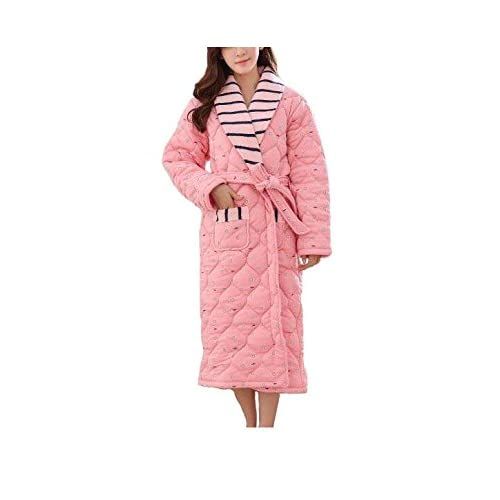 70%OFF CanKun Mujeres engrosamiento 100% algodón rayas bata de baño bata  chal cuello cb5584b7cacd