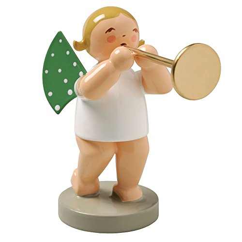 Trumpets Ceremonial - Wendt & Kuhn Blonde Hand Painted Grunhainichen Angel Ceremonial Trumpet Figurine