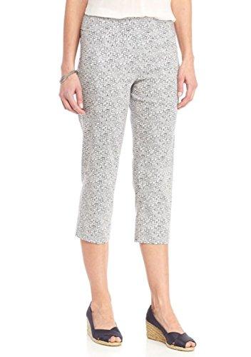 New Directions Women's Printed Millennium Pull-On Crop Pant (White Navy Blazer, 14) (New Directions Clothing)
