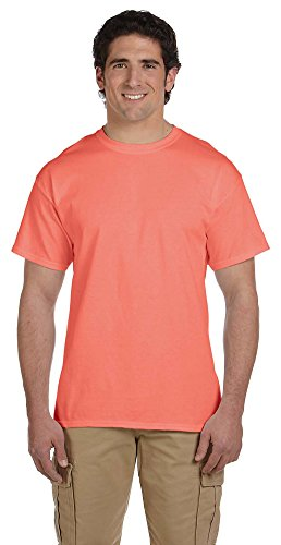 Fruit of the Loom 5 oz, 100% Heavy Cotton HD T-Shirt, XL, Retro HTH Coral ()