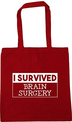 Classic I survived Tote surgery 10 Gym Shopping x38cm litres Bag Beach Red brain 42cm HippoWarehouse pO4wA