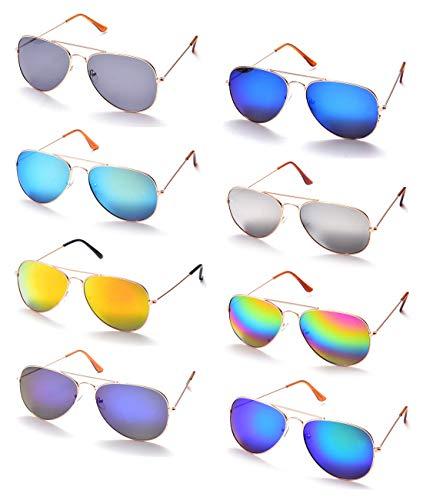 Onnea fashion Onnea fahsion Wholesale Rose Gold Metal Frame Bright Color Aviator Unisex Sunglasses UV400 Protection (Mix 8-pack) ()
