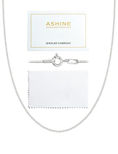 ASHINE 22 Inches 925 Sterling Silver 1mm Box Necklace Chain Solid Nickle-Free Necklace for Women Spring Ring Clasp Chain Italian Crafted Necklace with Silver Polishing ()