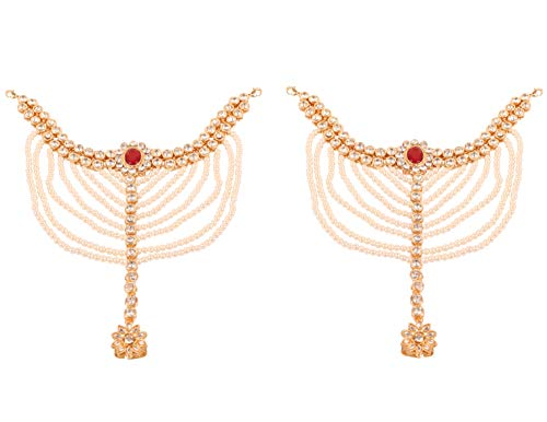 Touchstone New Indian Bollywod Desire Ethnic Studded Look White Rhinestone Faux Pearls Ruby Wedding Essential Dramatic Look Designer Jewelry Heavy Panzer Payal Anklets in Gold Tone for Women. ()