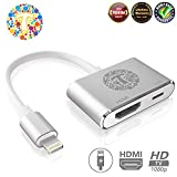 Thor Technology Digital HDMI Adapter Converter New Edition 2 in 1 Plug and Play Digital AV Connector Compatible for iPhone X,iPhone 8/7/Plus iPad iPod