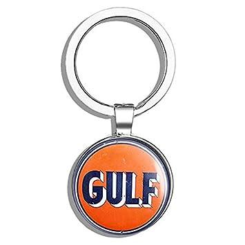 HJ Media Vintage Round Gulf Gas Logo (Motor Oil car Gasoline) Metal Round Metal Key Chain Keychain Ring