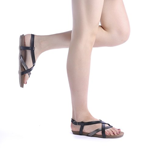Women's BLK DREAM Sandals Back 01 Flat Sling Fashion PEWTER BOLD PAIRS 55x1vrS